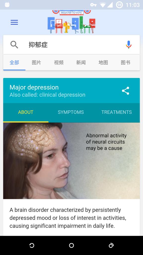 Google Now 搜索抑郁症得到的结果